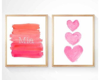 Hot Pink Nursery Decor, Set of 2 - 8x10, Ombre Dip Dyed Art, Playroom Decor, Hot Pink Girl's Room, Personalized Kids Art, Pink and Orange