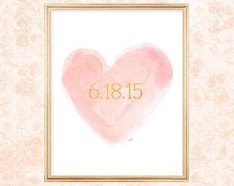 Blush Wedding Decor, Blush Bridal Shower, Special Date, Wedding Date, Custom Date Print, Wedding Date Print, Blush Wedding Gift, Blush Bride
