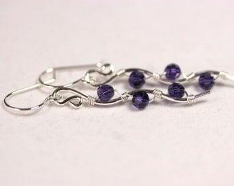 Purple Swarovski Crystal Earrings Wire Wrapped Jewelry Handmade Sterling Silver Jewelry Handmade Swarovski Crystal Jewelry Purple Earrings