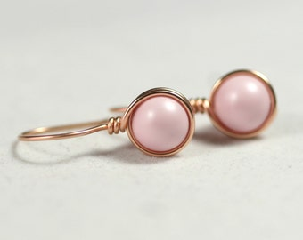 Rose Gold Light Pink Earrings Wire Wrapped Jewelry Handmade Rose Gold Earrings Pastel Pink Earrings Rose Gold Jewelry Swarovski Pearl
