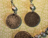 Coin Jewelry Set of Necklace and Earrings, Morocco 1 Franc, 50 Cents, Beautiful Star Coins, Intricate artistic Star