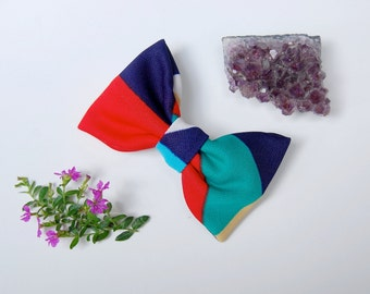Geometric Hair Bow - Made with colorful vintage polyester knit fabric and a French barrette.
