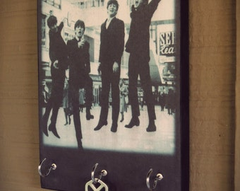 "Key Holder THE BEATLES  Key Holder and Wood Mounted Wall Art. 5.5"" x 8""  The Beatles Gifts CUSTOMiZE YoUR OwN PiECE ToO"