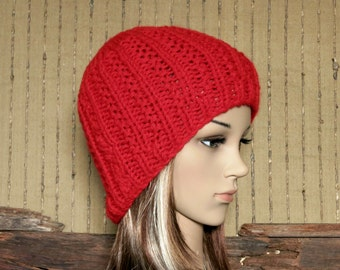 Knit Hat, Men Womens Hat, Wool Beanie, Skull Cap, Hand Knit  Red Beanie, Baby Warm Winter Hat Australia