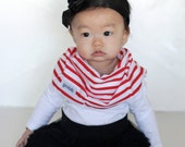 """Modern Bib (Red/White Stripes) All in One Scarf & Bib """"Scabib"""" TM for babies or toddlers"""