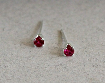 Small Garnet Stud Earrings - January Birthstone - Tiny Studs - Red - Birthday Gift - Post Earrings - Gift for Her
