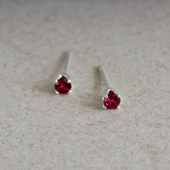 Small Garnet Stud Earrings - January Birthstone - Tiny Studs - Red ...