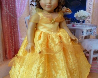 """Beauty and the Beast Ball Gown -- American Made to Fit Your 18"""" Girl Doll"""