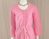 "True Vintage Pink Mod Boho Jumper Mini Dress in a Cute Nylon Brocade 34"" Bust"