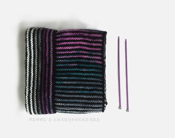 Unisex Skinny Striped Long Scarf, Mens Open Ended OOAK Scarf, Vegan Knitwear, Winter Fashion, Unique Gift, for Her, for Him, Warm and Cozy
