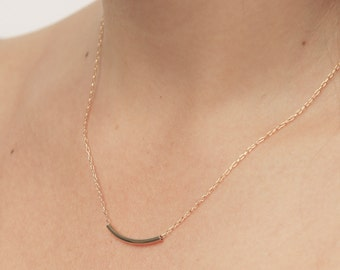 Gold curved bar necklace delicate gold tube necklace dainty layered gold filled jewelry.