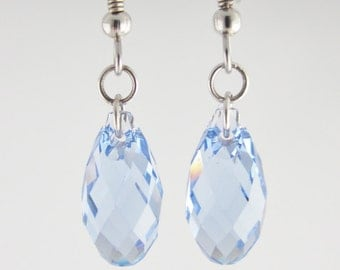 Light Blue earrings, Swarovski Briolettes Crystal Soft Blue earrings on Sterling Silver 925, multifaceted aquamarine earring