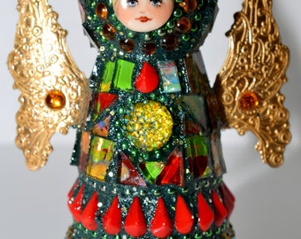Red, Green and Gold Mosaic Peg Doll Angel