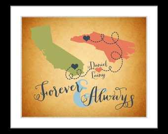 Forever and always long distance boyfriend gift for girlfriend husband wife two love map art print heart map couple romantic valentines day