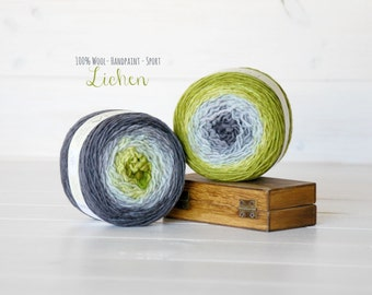 2 Hand Dyed Yarn Balls - 100% Wool - Color: Lichen Ombre - 1Ply Sport Yarn - Colorful Soft Yarns by Freia - 2 Balls - Gorgeous Sport Yarn