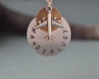 Wanderlust necklace Airplane necklace - Wanderlust jewelry - Unisex - Gift for traveler - Travel jewelry - Airplane jewelry