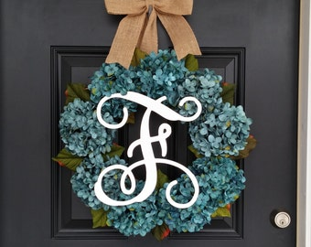 Hydrangea Wreath, Monogram Wreath, Spring Wreath, Summer Wreath, Front Door Wreath, Mothers Day, Wedding Decor, Floral Wreath, Turquoise