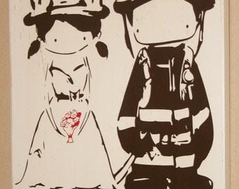 Female Firefighter Sign, Firefighter Sign, Firefighter Wedding, Firefighter Couple, Firefighter Bride - Firefighter Cutie Couple by YuYu Art