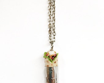 Realistic Burrito Necklace - polymer clay jewelry, handmade jewelry, miniature food, tiny food, food jewelry, burrito jewelry, mexican food