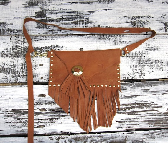 CARMEL & GOLD STUDDED envelope fanny pack with fringe, waist or belt pouch, leather fringe and gold toned studs and conchos, snap closure