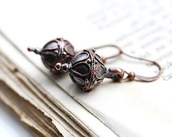 Boho Earrings, Copper Earrings, Oriental Jewelry, Dangle Earrings, Metal Earrings, Everyday wear, by MayaHoney