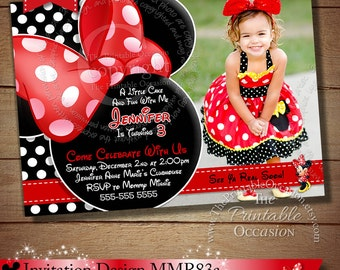 Red Minnie Mouse Birthday Invitation, Black Polka Dot Minnie Mouse Invitation, Birthday Invitation, Minnie Mouse Printable Invitation