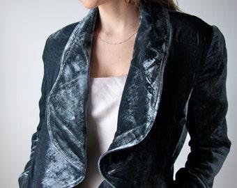 Silk Velvet Waterfall Jacket in Slate Grey