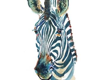 Zebra 2  -  Watercolor Animal  - size 11 x 14 in  - Watercolor  Painting - Animal Art Print