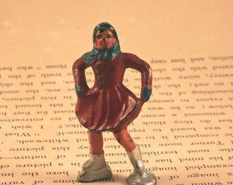 Antique Lead Toy Barclay Winter Village Skater Figurine - Chippy 1940s Rustic