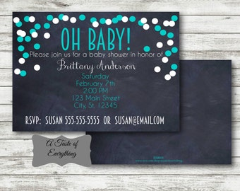PRINTABLE DIGITAL DOWNLOAD design Baby shower baby blue engagement party invitation save the date boy girl confetti