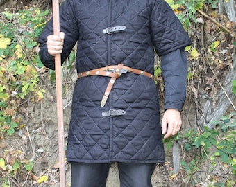 Gambeson, Medieval, Celtic, Viking Armor, Padded Gambeson, Short Sleeves, buckles on the front