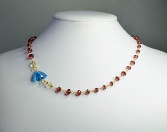 Swiss Blue Topaz, Red Garnet, Scapolite Gold-filled Necklace