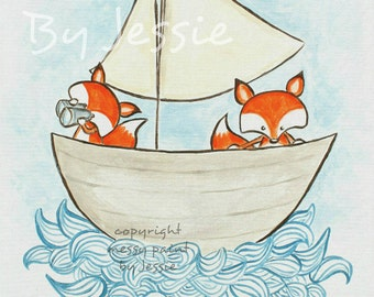 Fox art Print , from painting,fox illustration, Fox wall art , Nautical Room Decor,Childrens Wall Art, nautical decor, painting