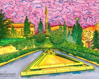 Granada Print: Triunfo Park, Granada, Spain
