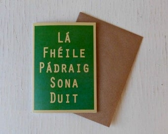 Paddy's Day card, Irish language, St Patricks Day, Ireland, Gaelic, - made in the west of Ireland - 17th March, Irish cards,