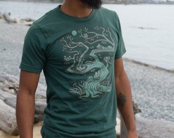The Mens Tree T Shirt Screen Printed Original Art  Cool Hippy Clothes Green American Apparel  100% Cotton Sizes (S M L XL XXL)