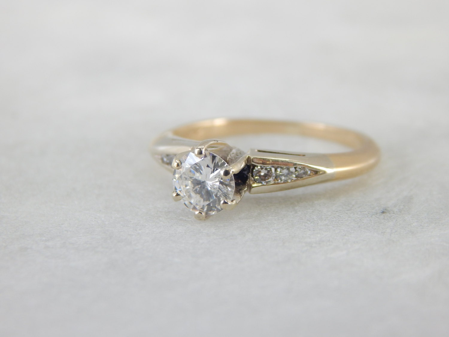 Classic 1950s Two Tone Six Prong Engagement Ring FJPAQV P