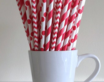 Red Paper Straws Red Striped, Chevron, Polka Dot Party Supplies Party Decor Bar Cart Cake Pop Sticks Mason Jar Straws Graduation