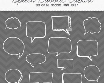 Doodle Speech Bubbles Clipart Vector EPS / INSTANT DOWNLOAD / Digital Handdrawn Speech Bubbles Set of 26 / 184