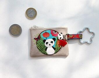 """Keychains / mini wallet linen illustrated """"panda"""""""