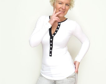 FREE SHIPPING,  Black White Top , White Henley Shirt, Cleavage White Blouse, White Henley Top, Black White Long Top, Button White Shirt