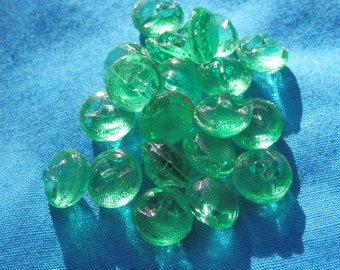 Vintage Pressed Green Glass Buttons