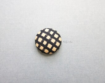 Navy Gingham Lapel Button - Men's Lapel Pin - Tie Tack - Tie Pin