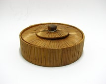 Vintage Bamboo Wooden Box With Cover / 50s Kastamonu Wood Art and Crafts / Handmade in Turkey / Lovely Home Decor /