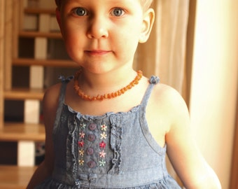 Baltic Amber Teething Necklace for your Baby maximum effective raw honey amber beads