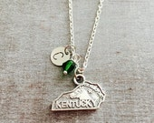 CUSTOM NECKLACE, Silver Plated Necklace, Kentucky State, Kentucky Necklace, State Jewelry, State Necklace, Long Distance Relationship