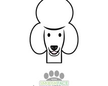 Poodle car decal sticker - poodle dog face silhouette in white or chocolate brown - Smiledog collection