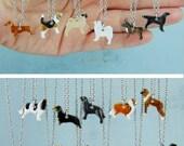 Dog Miniature Ceramic Pendant  Necklace Pet lovers Dachshund Samoyed Lab Frenchie Cavalier Flat Pug