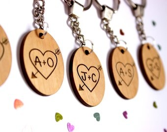 SALE- Your initials wood keychain | 5th anniversary gift | bridal gift | engagement gift | fifth anniversary | wood anniversary | cute gift