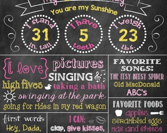 Sunshine First Birthday Chalkboard First Birthday Poster You are my sunshine